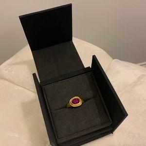 David Yurman 22ct yellow gold ring with ruby.